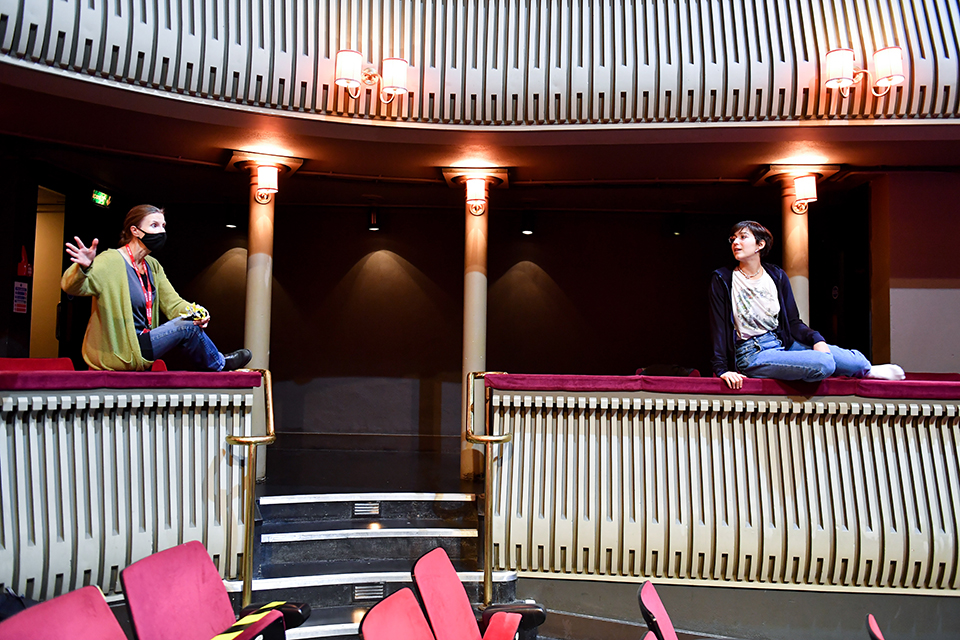 Olivia Fuchs and an RCM vocalist rehearse in the Britten Theatre in October